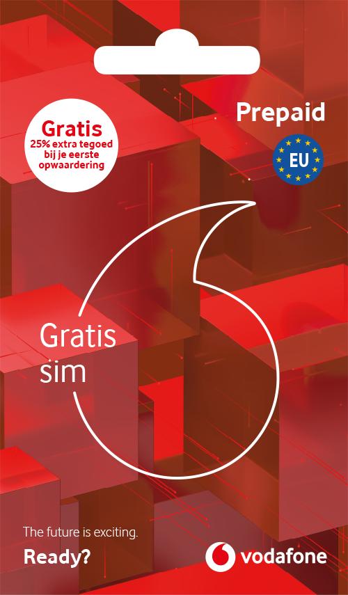 Gratis Prepaid Simkaart + 10GB Dagbundel @ Vodafone