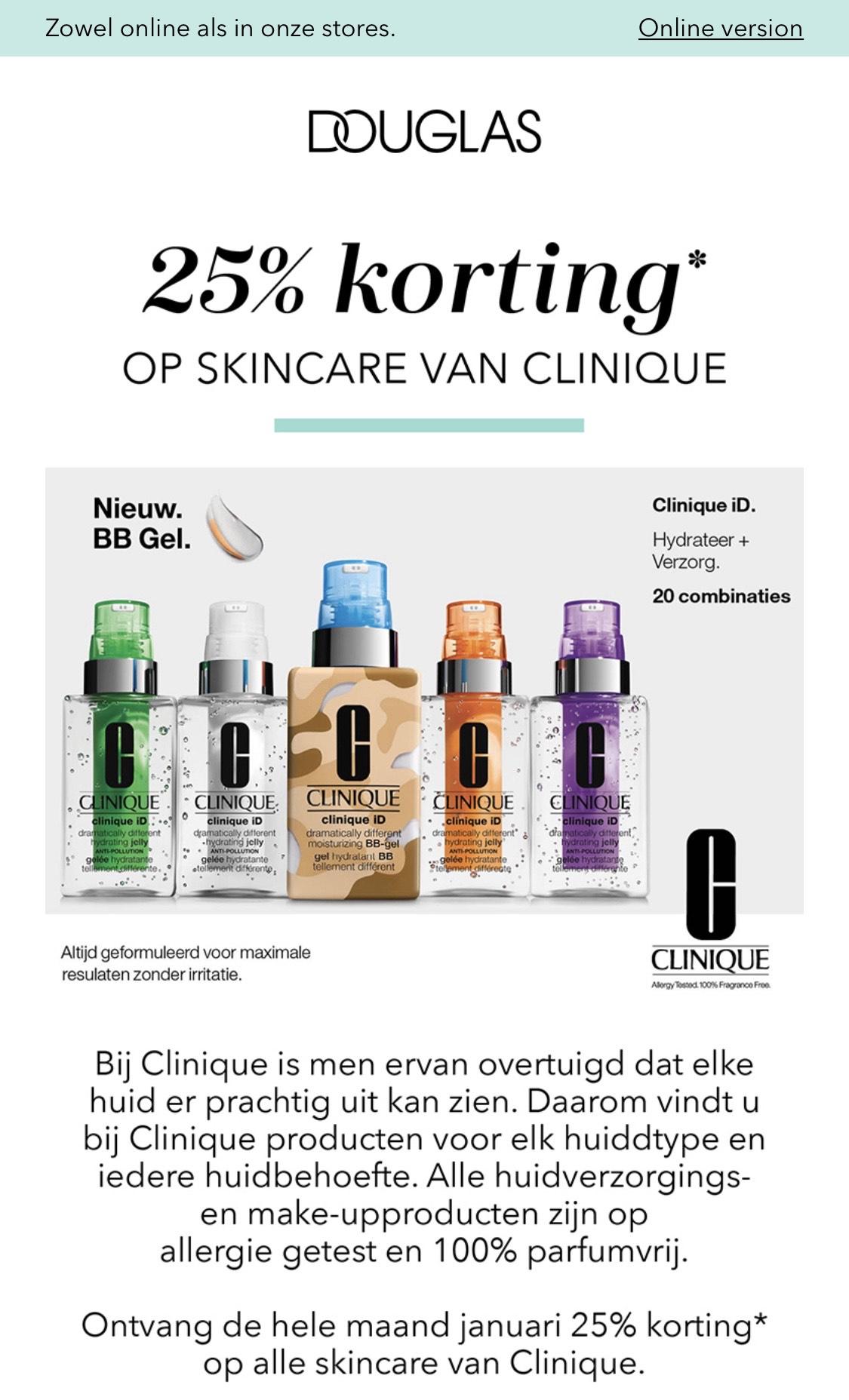 25% korting* op skincare van Clinique