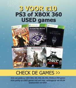 3 used PlayStation 3, XboX 360 games voor €10,00*