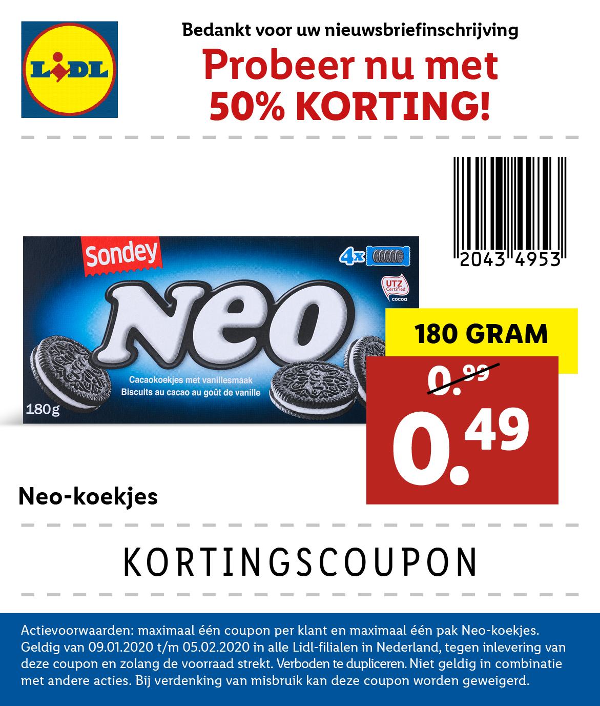 Neo-koekjes (4x4 stuks, 180 gram) voor €0,49 met coupon bij Lidl