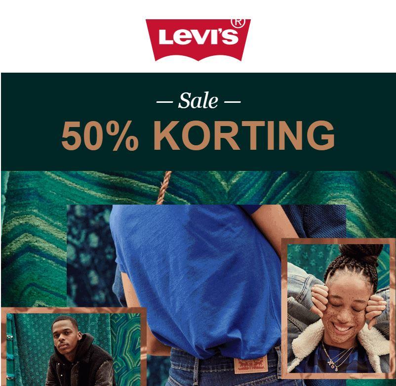 ALLE sale -50% + gratis verzending (t.w.v. €5,99) @ Levi's