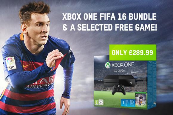 Xbox One 500GB Console met FIFA 16 + gratis nieuwe game naar keuze voor €400.19 @ Zavvi