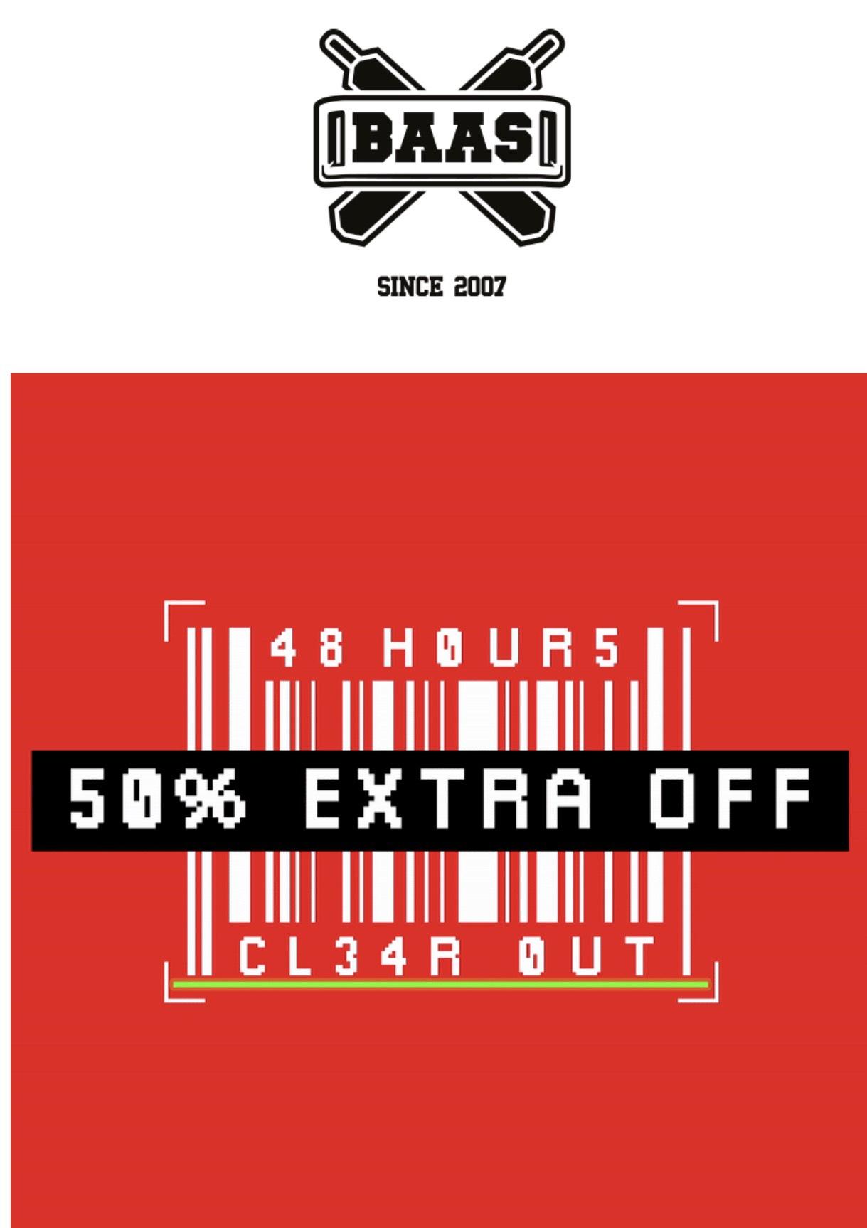 50% extra korting op sale items bij sneakerbaas
