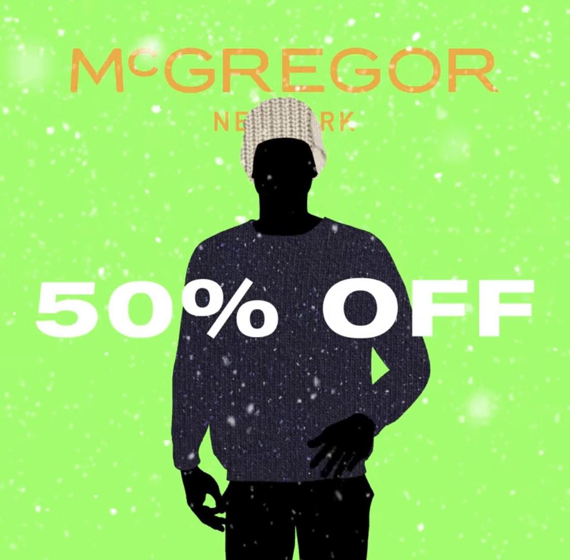 Uitverkoop 50% korting op de collectie van @mcgregor
