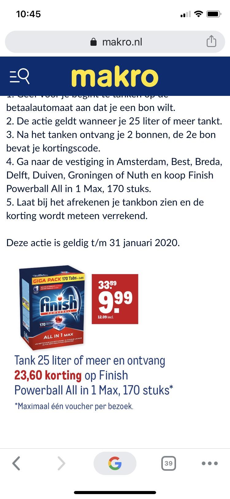 Finish All in one max 170 stuks voor €12,09 na tanken bij Makro