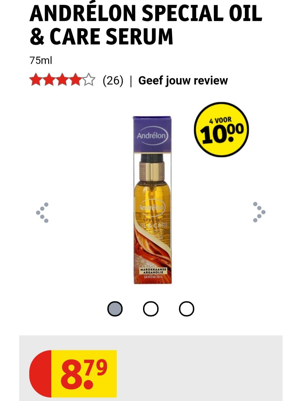 Andrelon special oil & care serum 4 voor €10 (71,55% korting normaal €35,16) @Kruidvat