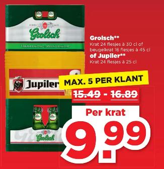 Krat Grolsch (24x30cl) / Grolsch beugel (16x45cl) / Jupiler (24x25cl) - Plus.nl