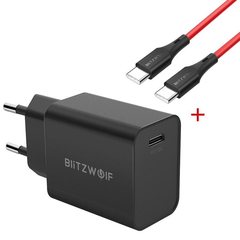 Blitzwolf BW-S12 27W QC4.0 PD oplader + Type-C naar Type-C kabel