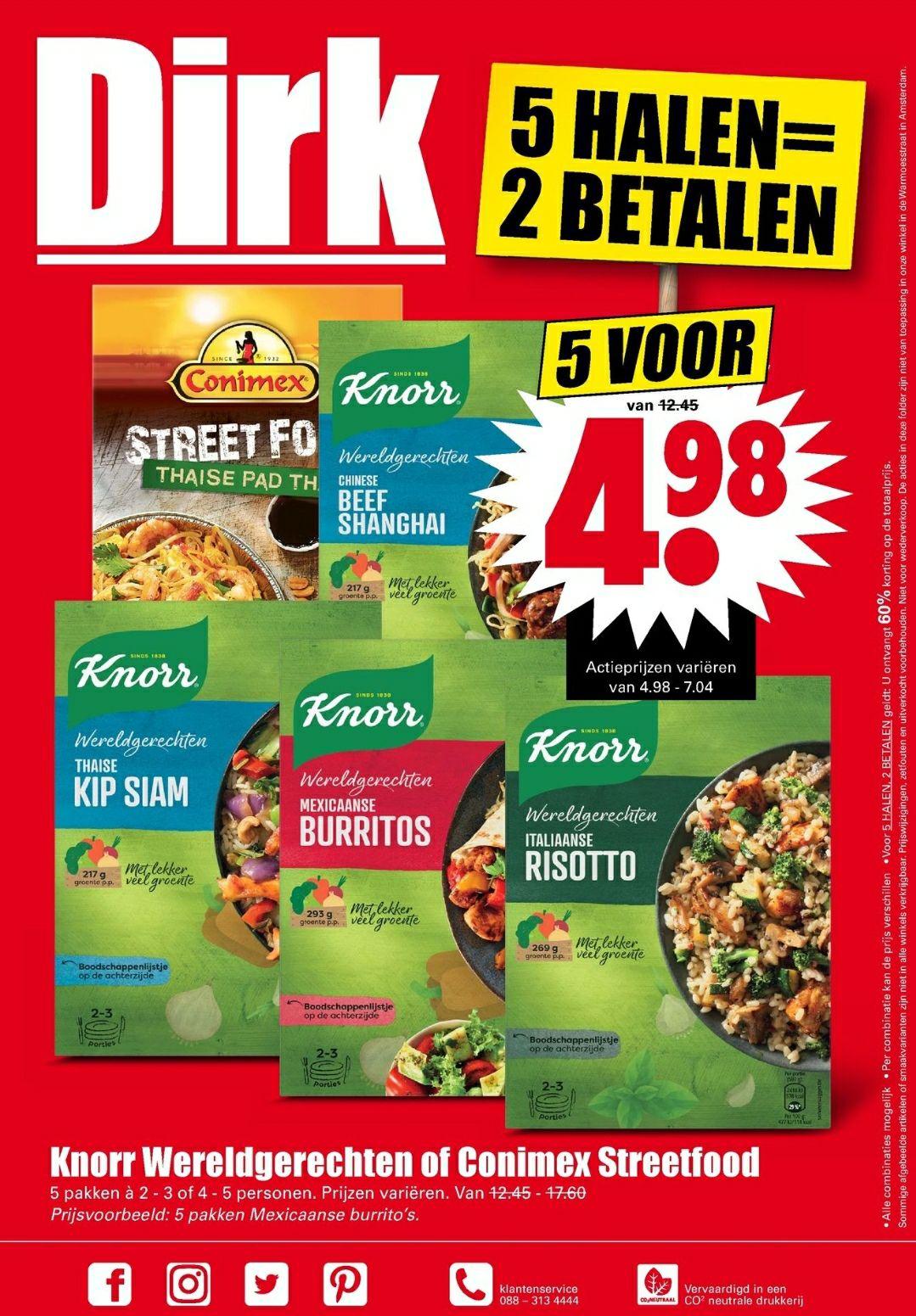 5 halen 2 betalen knorr wereldgerechten of conimex steetfood bij Dirk