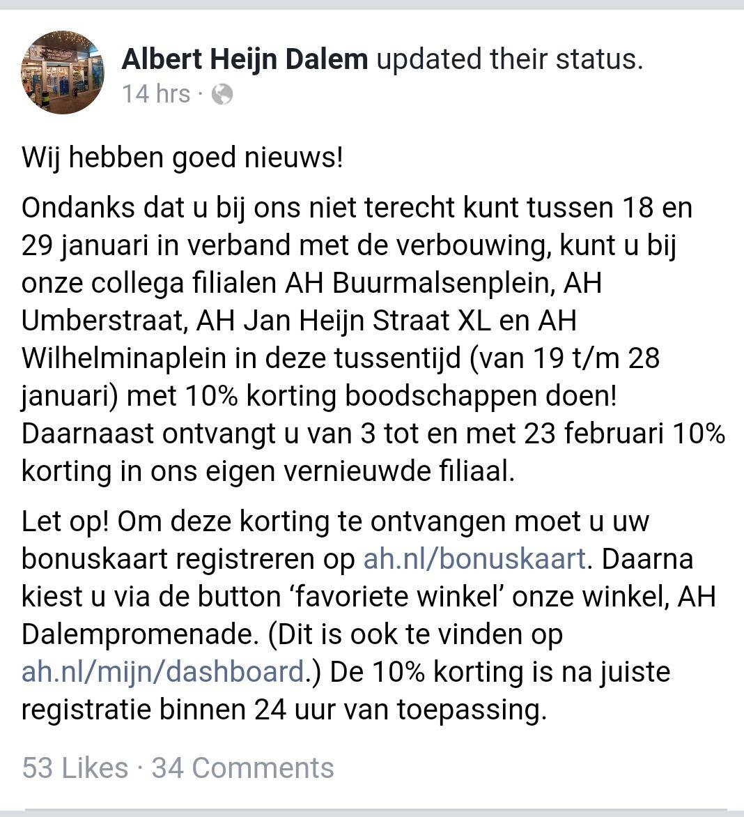 10% korting bij Albert Heijn in Tilburg + Rijen