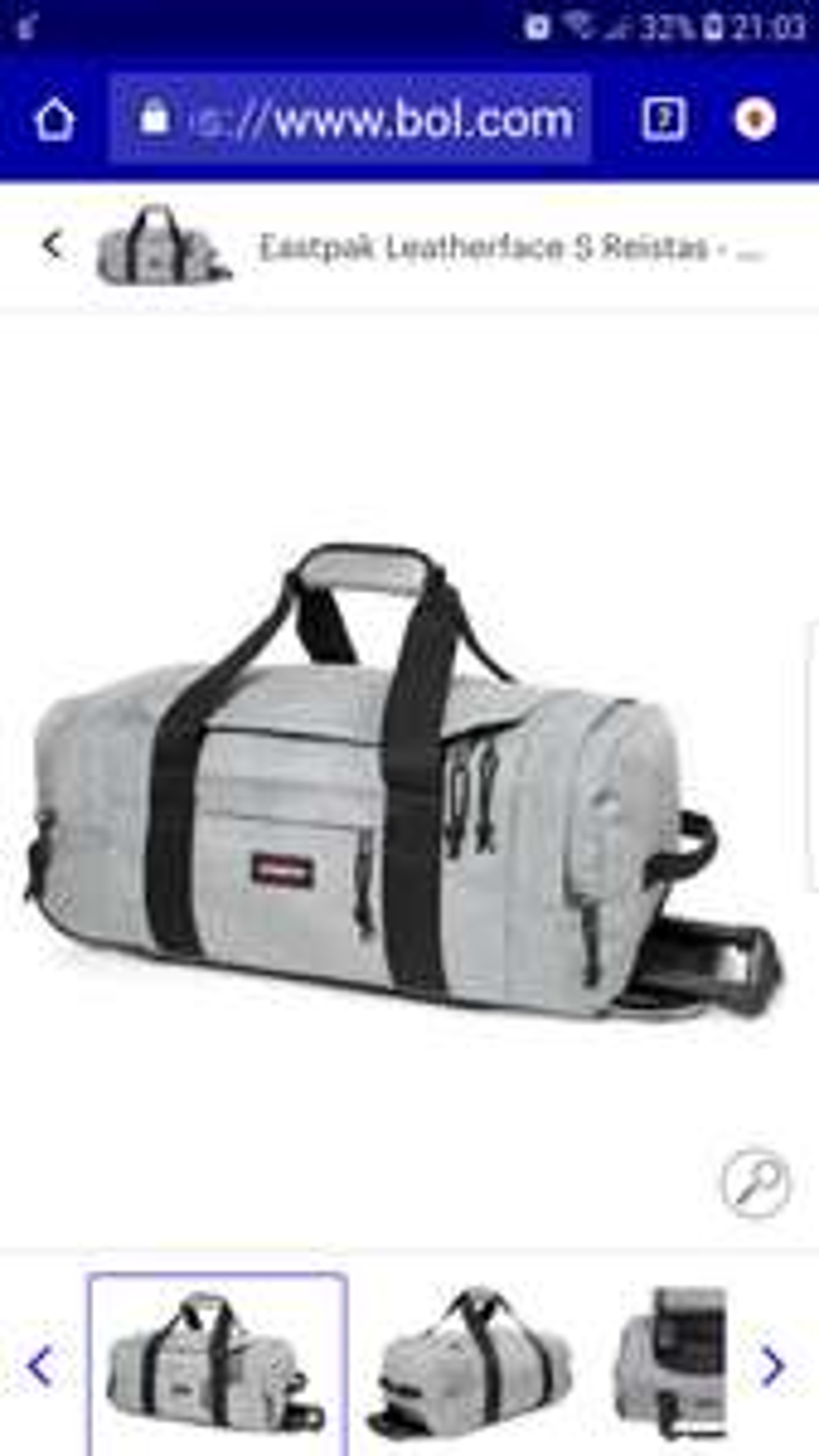 Handbagage Eastpak Leatherface S Reistas - 56 cm - Sunday Grey