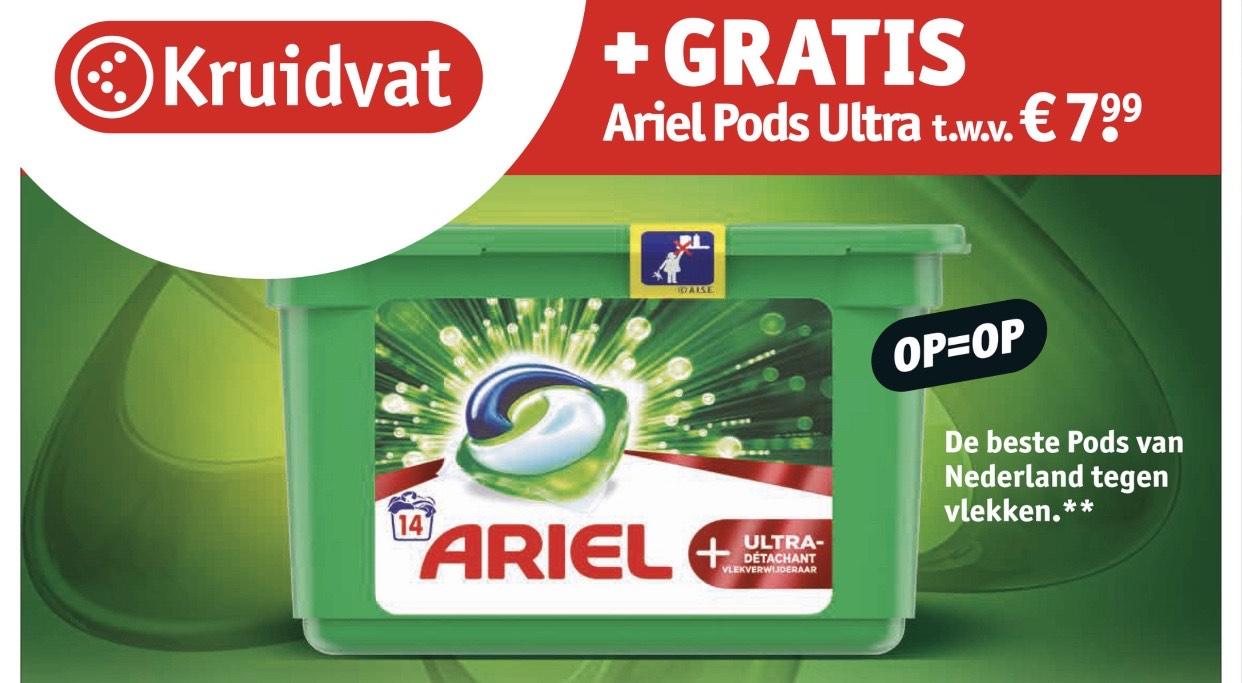 GRATIS Ariel Pods Ultra t.w.v. €7,99 bij aankoop van 1 of 2 actieproducten (zie beschrijving voor beste combinaties!) @ Kruidvat