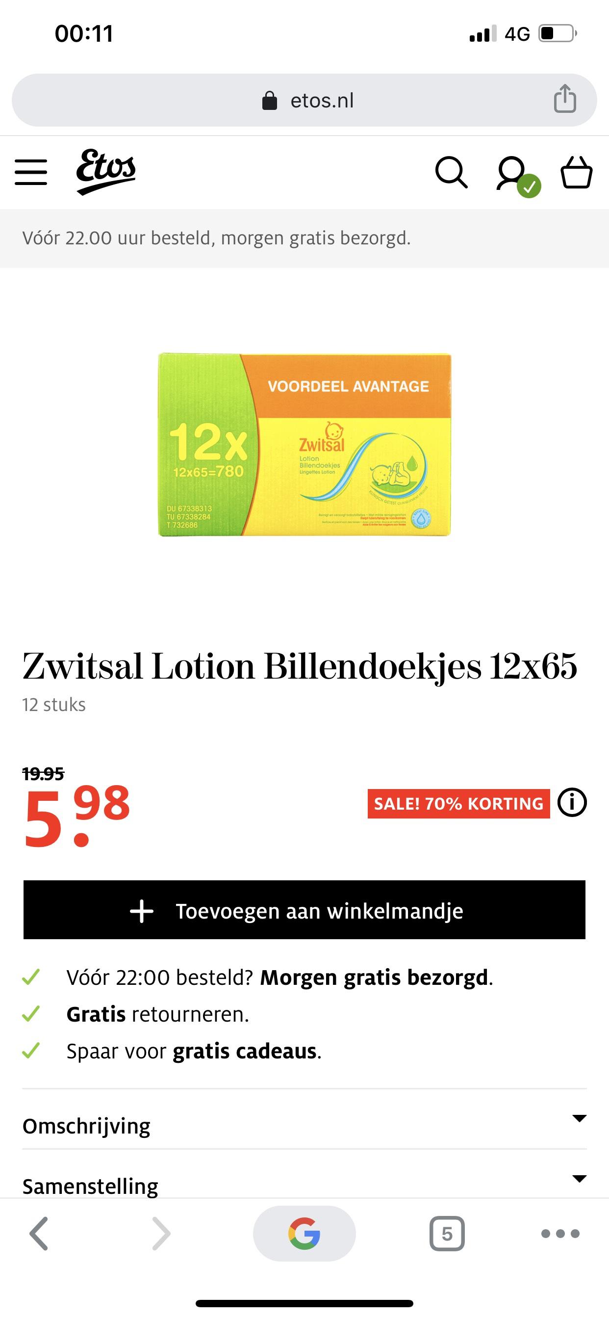 12 pakken Zwitsal billendoekjes voor €5,98 ipv €20,-