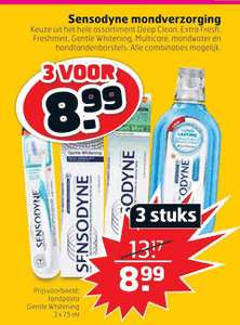 Sensodyne tandpasta, verschillende soorten en combineren mogelijk.
