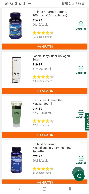 1+1 gratis op diverse producten @holland & barrett