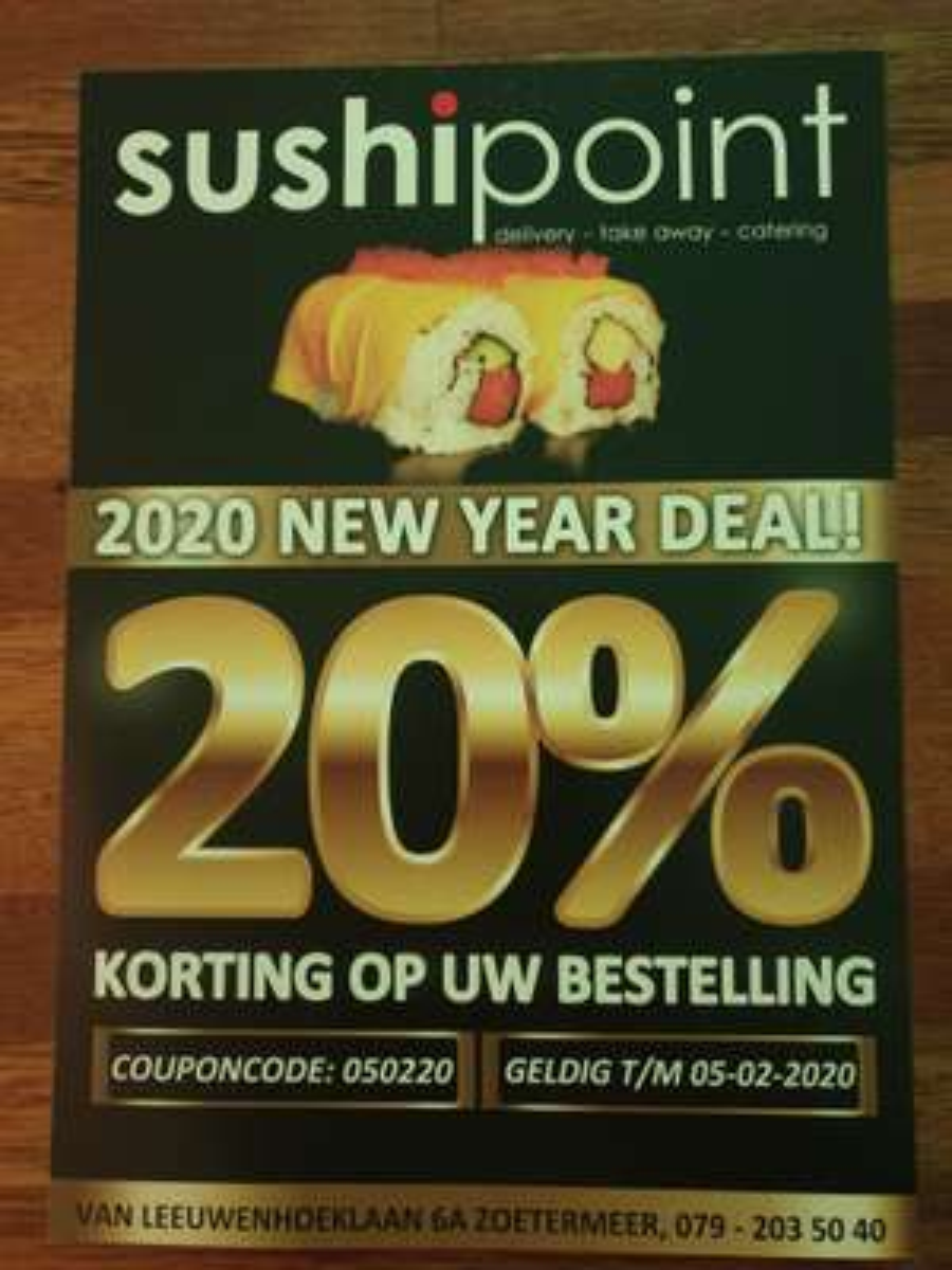 20% korting bij Sushipoint t/m 05-02-2020