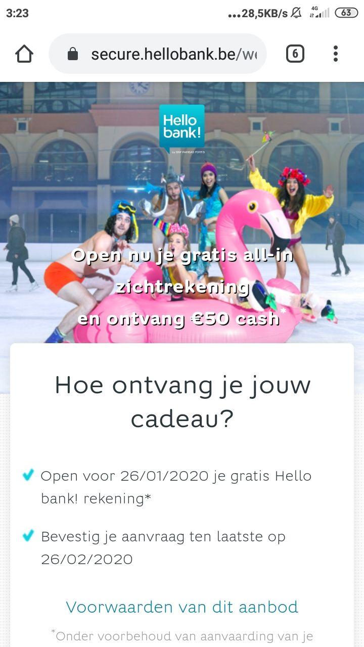 [gratis geld] 50 euro bij openen gratis zichtrekening (woonplaats België)