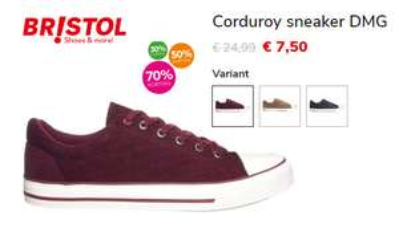 [Bristol tot 70% korting] Corduroy sneaker DMG in 3 verschillende kleuren (vanaf maat 40)