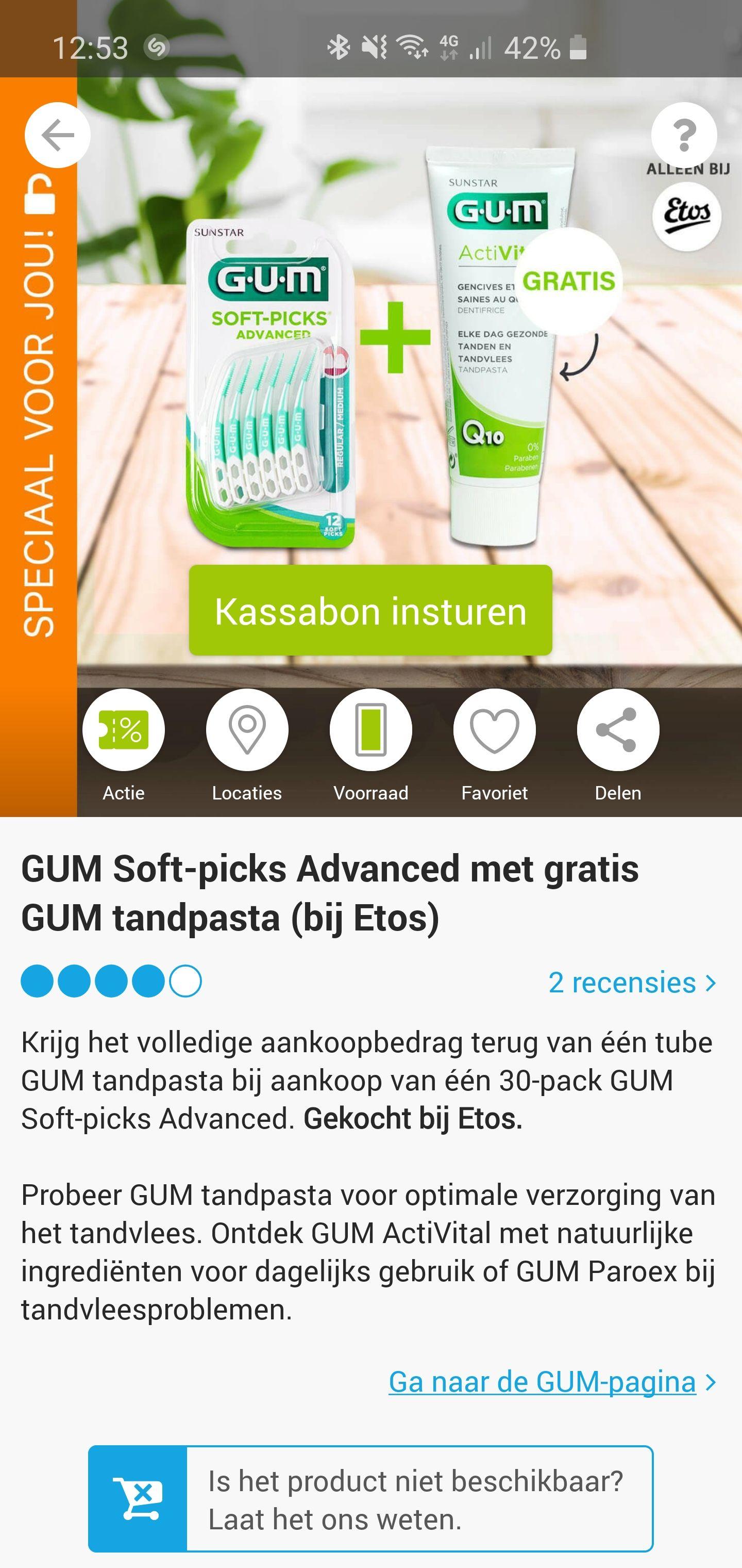 Gratis GUM tandpasta bij aankoop van één 30-pack GUM Soft-picks Advanced @ Etos (Scoupy)