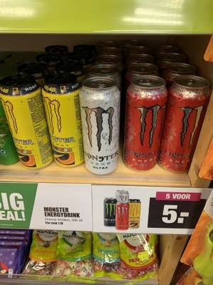 5 blikken monster energie voor 5 euro (big bazar)