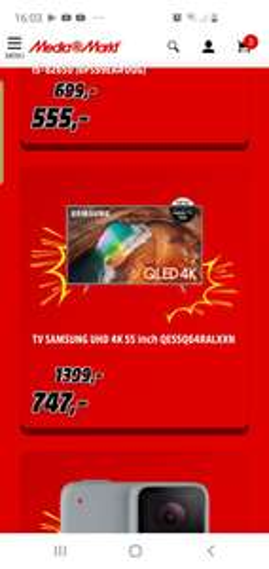 Grensdeal belgie TV SAMSUNG UHD 4K 55 inch QE55Q64RALXXN