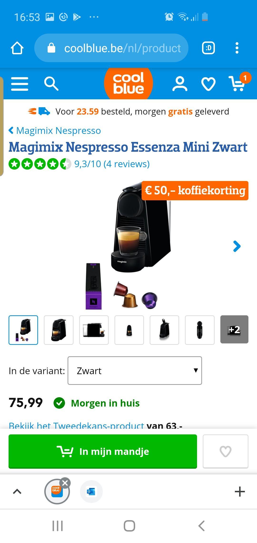 Grensdeal magimix Nespresso essenza mini zwart met 50 euro koffie (en in belgie gratis verzending)