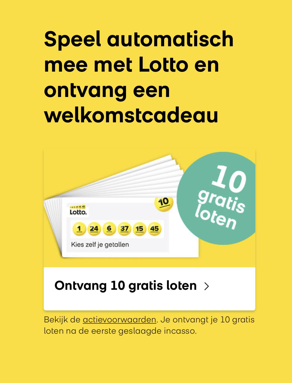 Wederom 10 gratis loten bij de Lotto bij het aankopen van een abonnement.