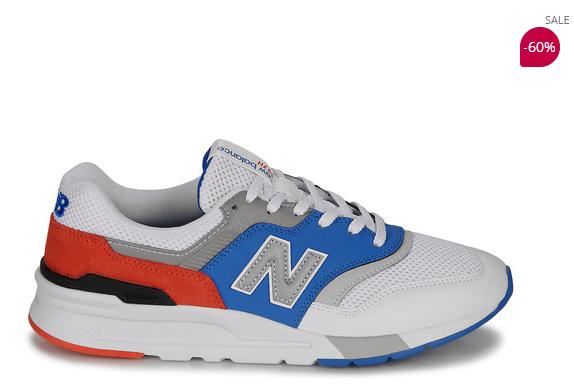 60% korting op Wit / Blauwe lage heren sneakers van New Balance!
