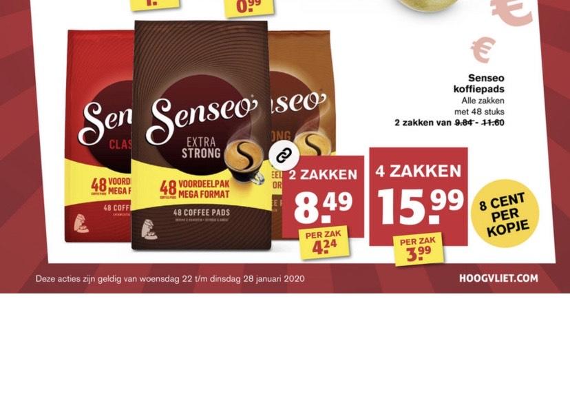 [Hoogvliet] Senseo koffie pads €15,99 (meerdere smaken