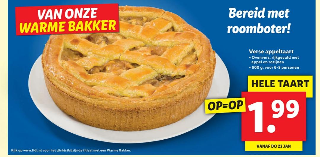 6-8 persoons appeltaartje voor €1,99 bij Lidl