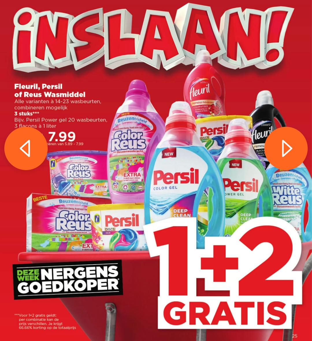 Fleuril, Witte Reus, Color Reus en Persil 1+2 gratis bij Plus (14-23 wasbeurten)