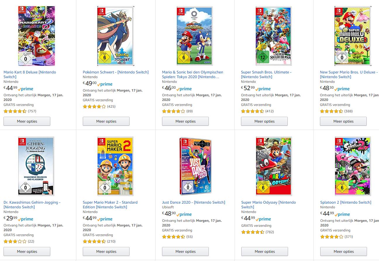 3 Switch Games voor €111 bij Amazon.de
