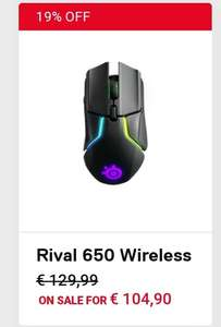 Steelseries Rival 650 wireless gaming mouse + gratis muismat t.w.v 11.99!