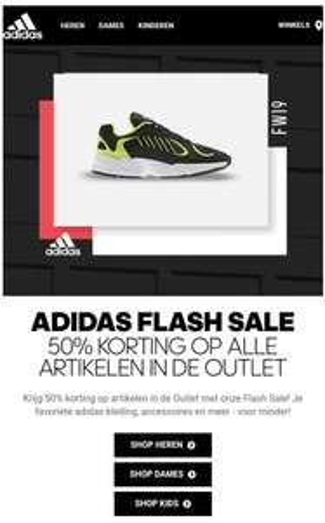 Flash Sale Adidas: alle sale -50% + 15% EXTRA met code