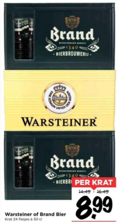 Krat Warsteiner of Brand bier @Vomar