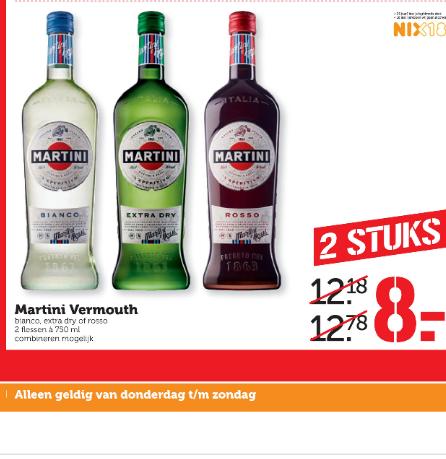 2x 0.75L Martini Bianco, Martini Rosso, Martini Extra Dry