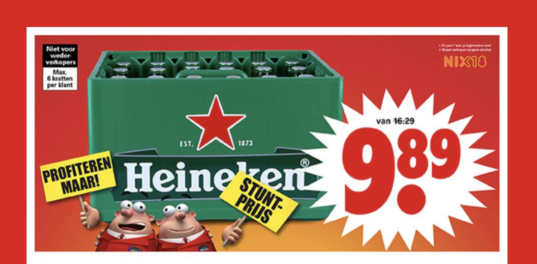 Krat Heineken bij Dirk voor 9,89€!