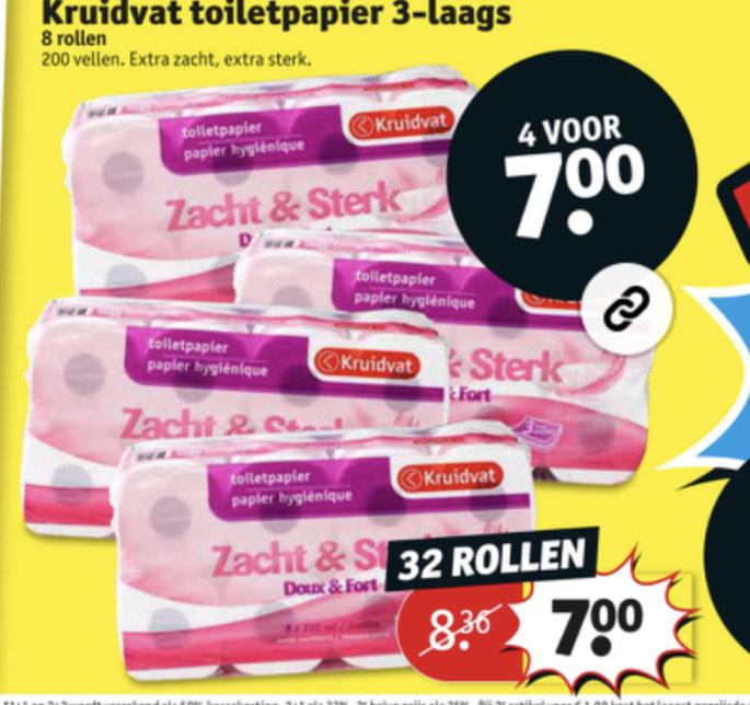 4 pakken toiletpapier €7    Kruidvat