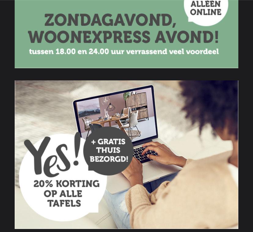 WoonExpress - Alléén vanavond: 20% korting op alle tafels