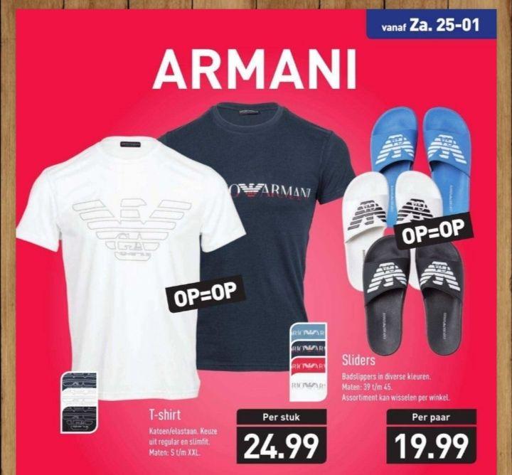 Armani t'shirt of slippers voor 25 of 20 eurooo bij de aldii