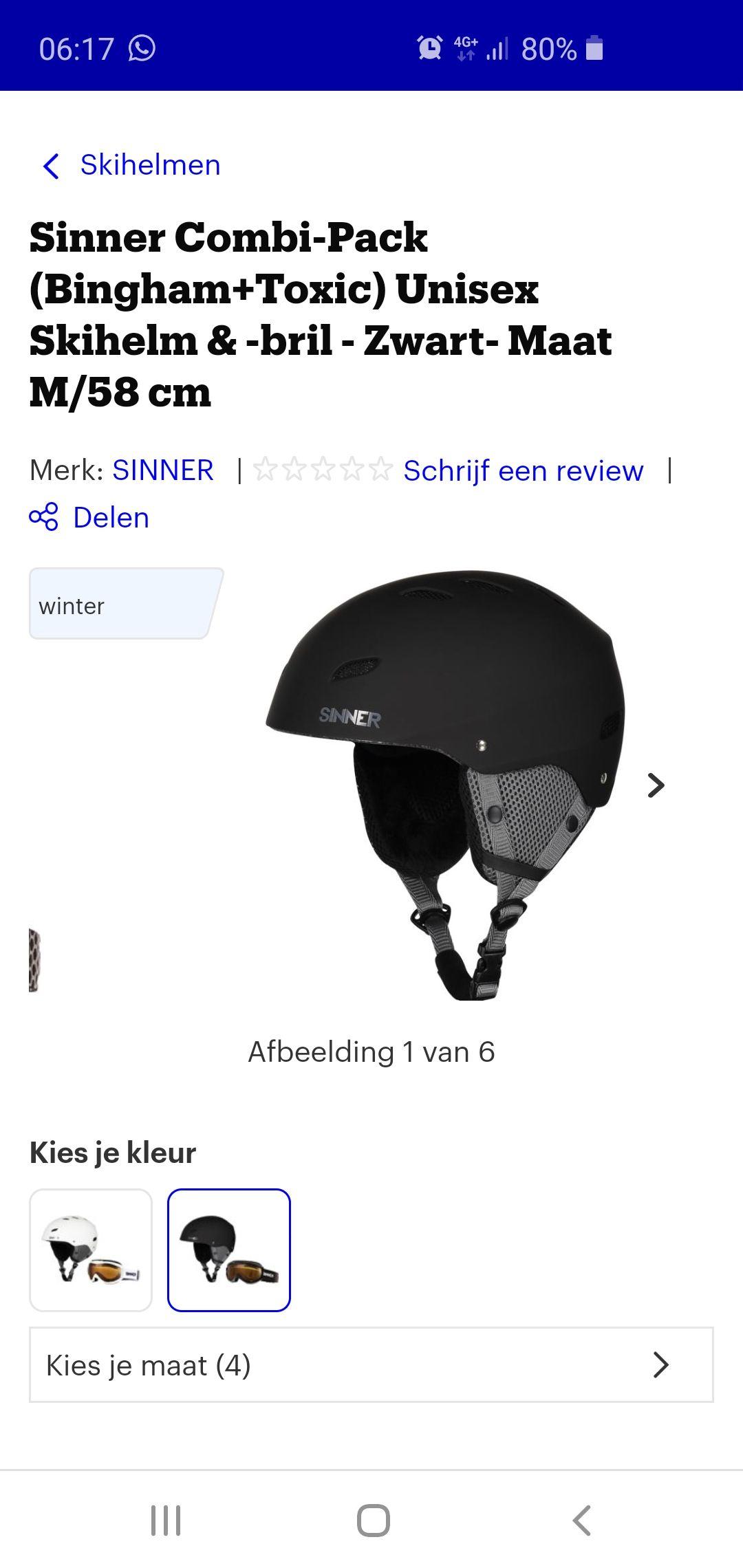 Ski helm en ski bril