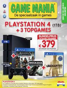 PS4 Console 1TB + Assassin's Creed Syndicate + Watch Dogs + Uncharted: The Nathan Drake Collection voor €379,- @ Game Mania