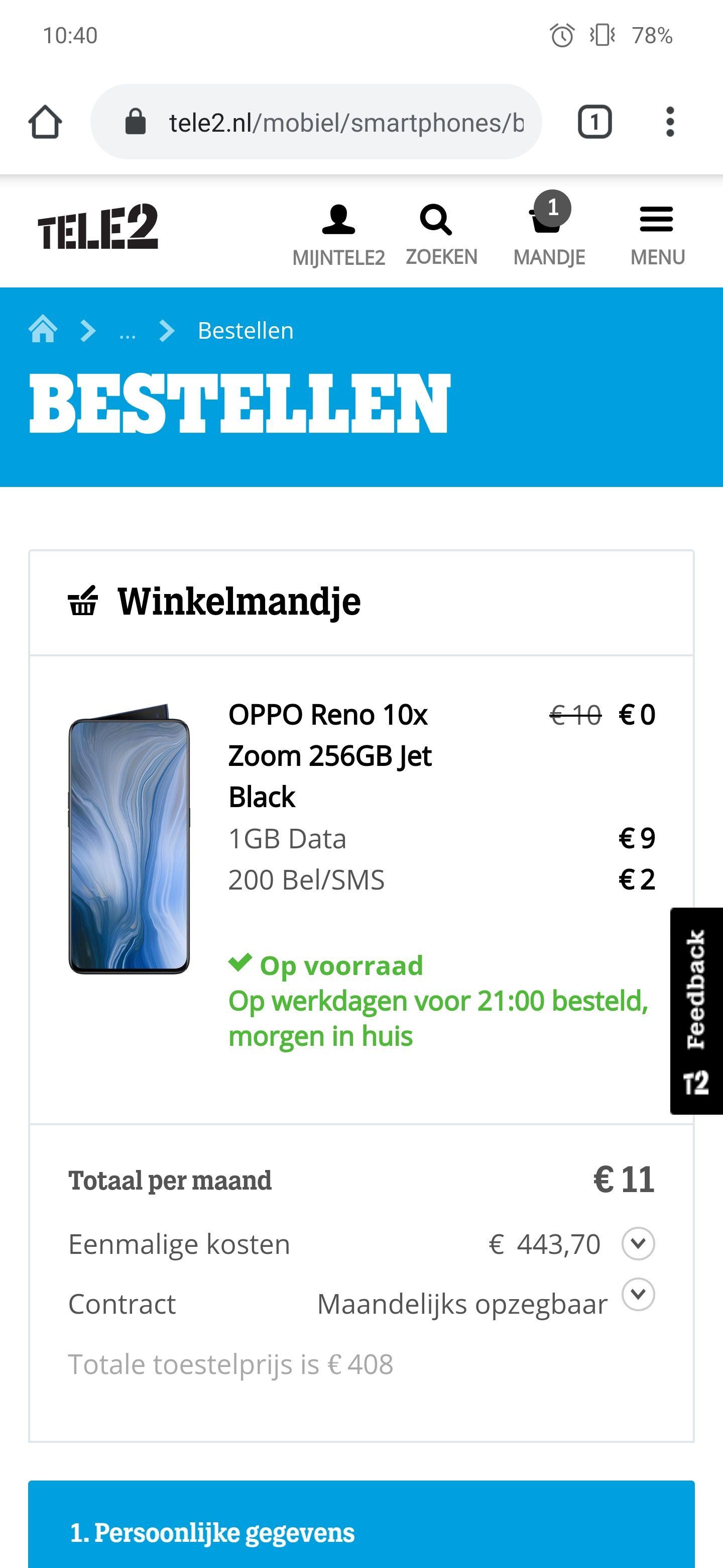 OPPO Reno 10x Zoom bij Tele2 voor € 454,70