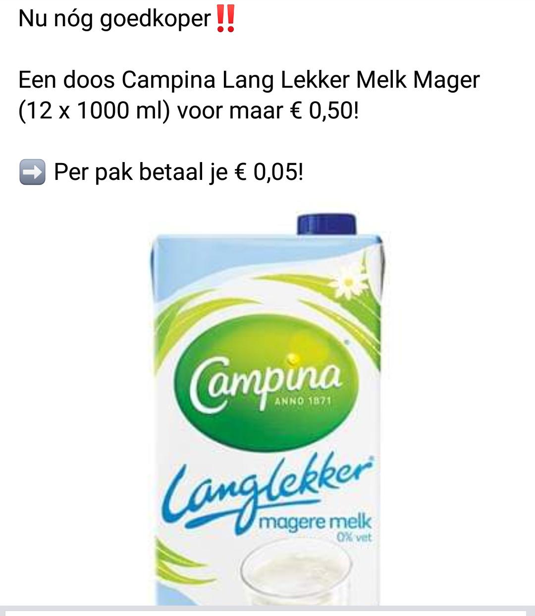 12 literpakken Campina langlekker mager voor €0,50 bij Budgetfood