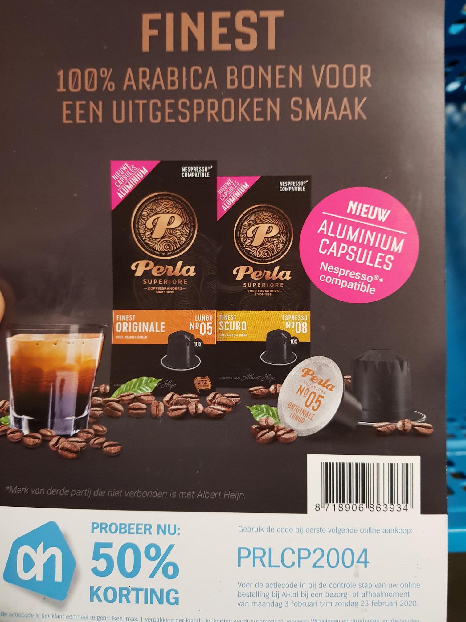 50% Korting 1 Pakje Perla Aluminium koffiecapsules [AH.nl]