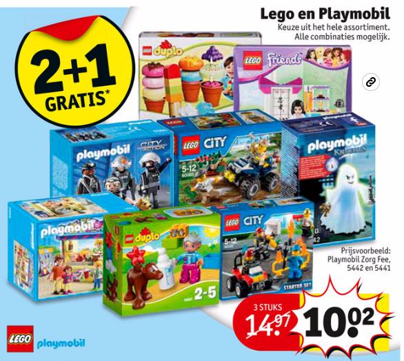 Lego + Playmobil 2 + 1 GRATIS @ Kruidvat