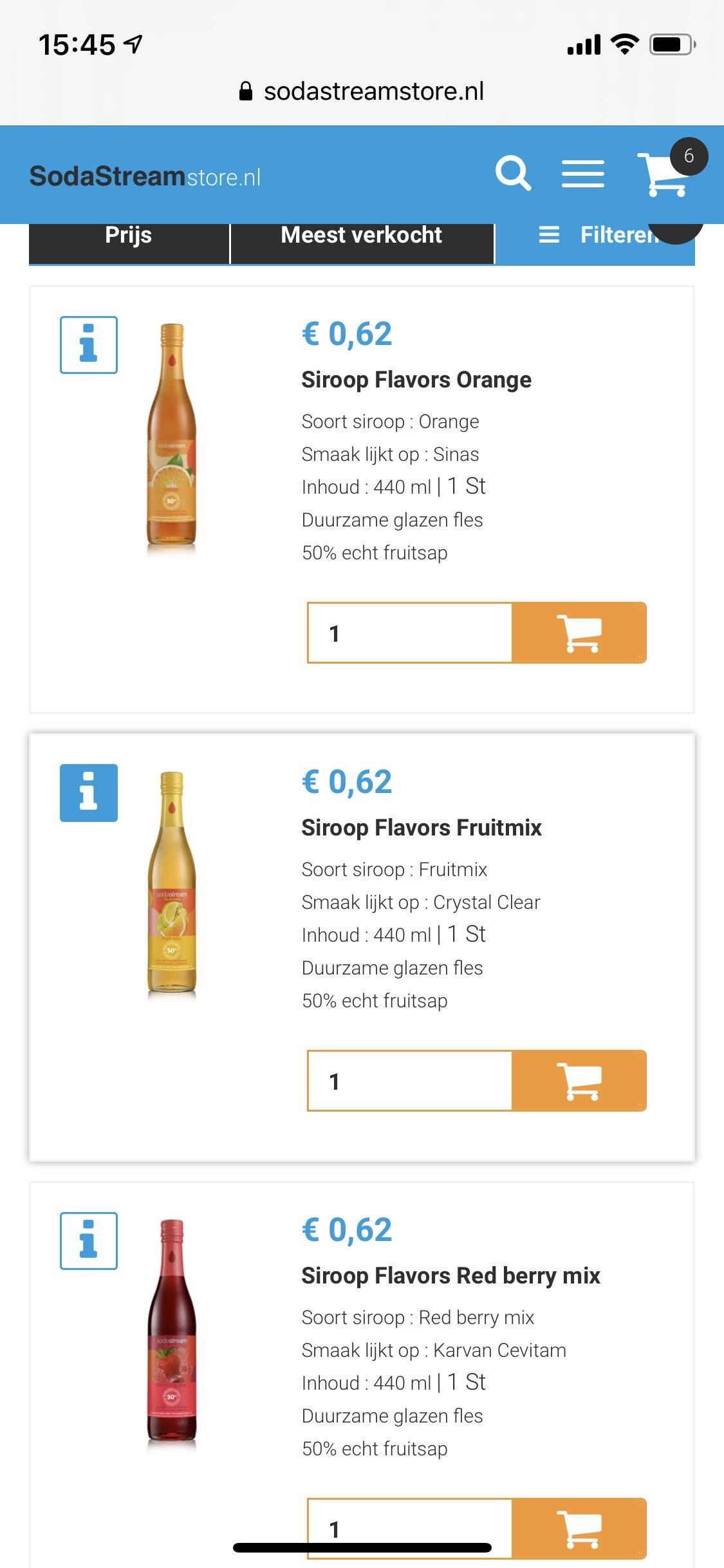 SodaStream Flavor siroop €0,59 per stuk