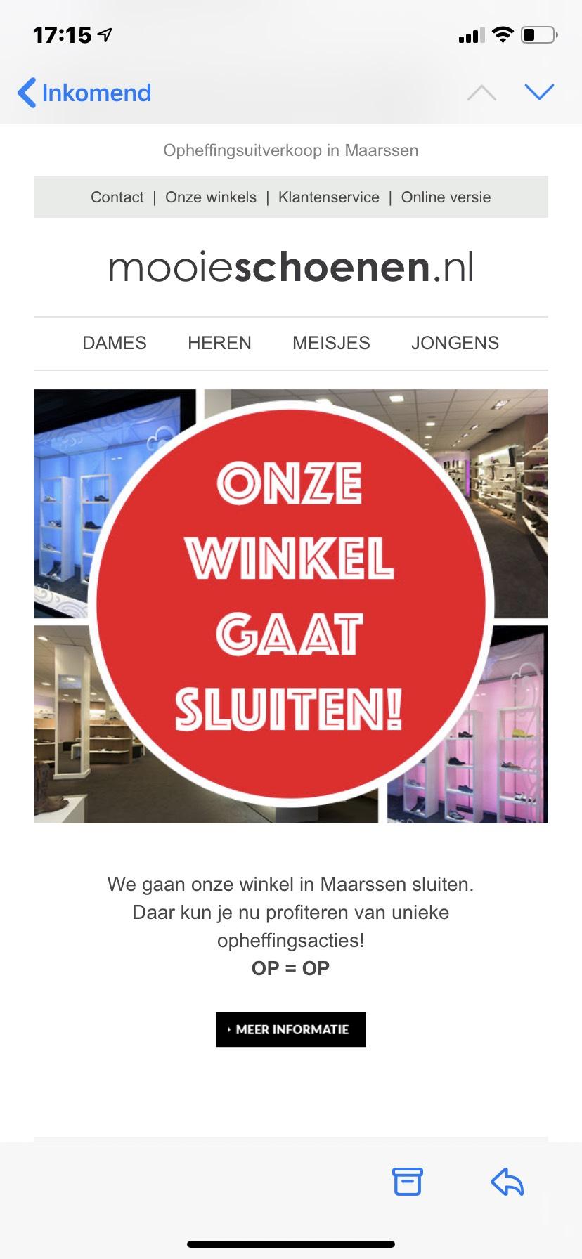 Mooieschoenen.nl gaat winkel sluiten op=op