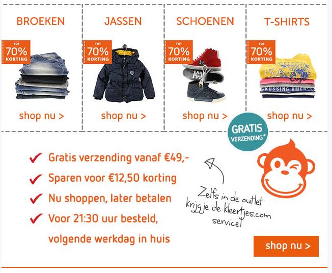 Tot 75% korting op veel kids merkkleding en -schoenen in de outlet @ Kleertjes.com