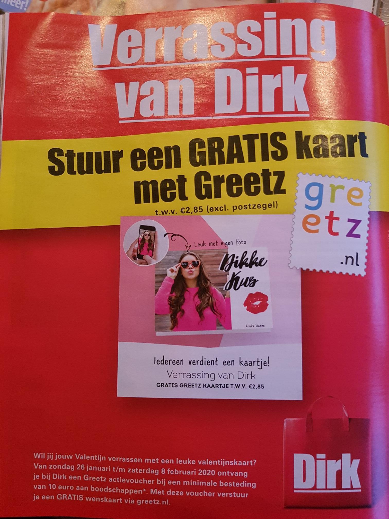 Gratis Greetz kaart versturen (excl. Postzegel) bij Dirk vanaf besteding van 10 euro.